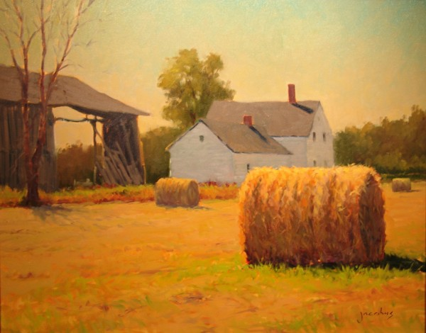 """Hay There"" oil on linen landscape, 24 inches by 30 inches, by Jacobus Baas is on display at the Maine Capitol Complex through September as part of the Arts in the Capitol program."