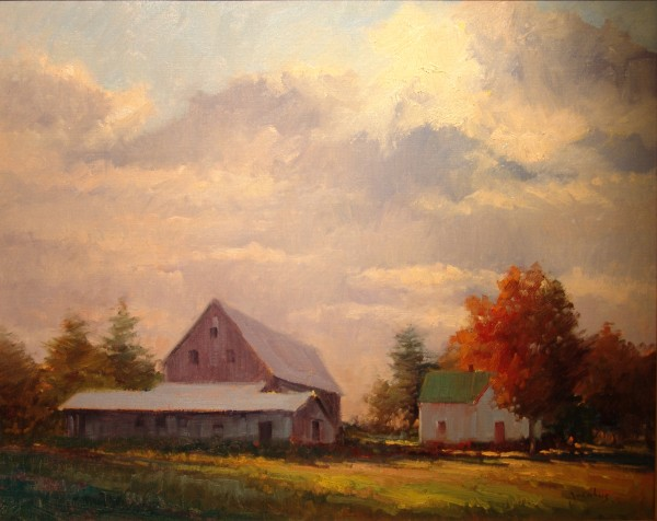 """Goose River Farm"" oil on linen landscape, 24 inches by 30 inches, by Jacobus Baas is on display at the Maine Capitol Complex through September as part of the Arts in the Capitol program."