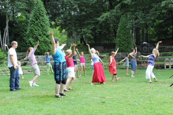 A group gathered Saturday near Camden Public Library to celebrate National Dance Day.