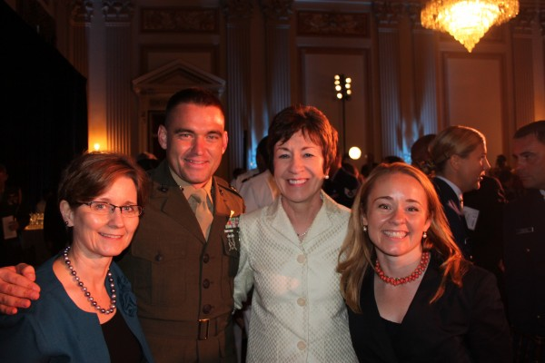 Capt. David Cote (second from left), a Bangor native, received the Military Times 2011 Marine of the Year award on July 21 in Washington, D.C. Congratulating Cote are (from left) Monica Cote, his mother; U.S. Sen. Susan Collins; and Elizabeth Cote, his sister.