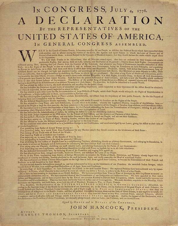 A copy of the Dunlap Broadside. The Declaration of Independence, July 4, 1776.