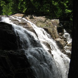 Houston Brook Falls in Pleasant Ridge is a short walk from the main road.