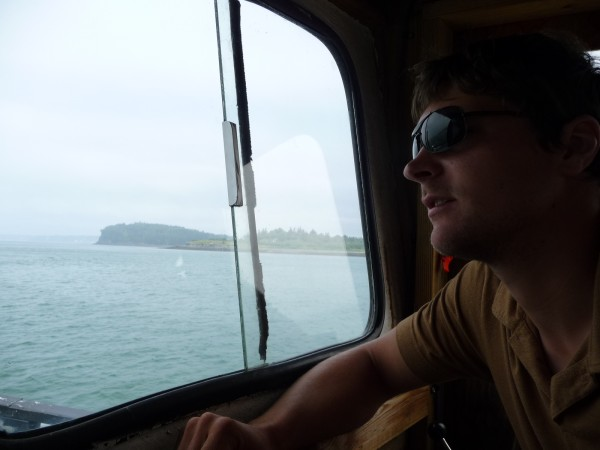 "Marshall Frye, 25, is the skipper of the Quoddy Dam. ""We've had people say they hadn't been to Lubec in 20 years,"" Frye said. The ferry makes eight daily trips between Eastport and Lubec and is having a very successful inaugural season."