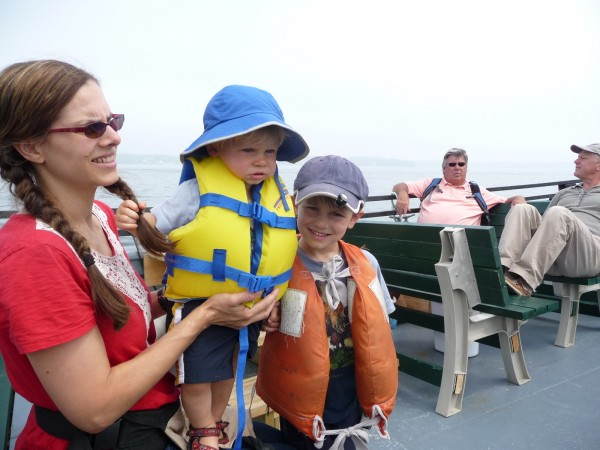 """This seemed like a natural choice,"" Roberta Ziemba (left) of Kingston, N.Y., said, of riding the Quoddy Dam ferry which has been operating eight times a day between Lubec and Eastport. The Ziemba family was vacationing in Lubec and Ziemba and her children, Waverly, 1, and August 5, took the ferry to Eastport for an afternoon of dining and shopping. ""We saw a fledgling eagle, loons and a harbor seal. It is everything we wanted,"" she said."