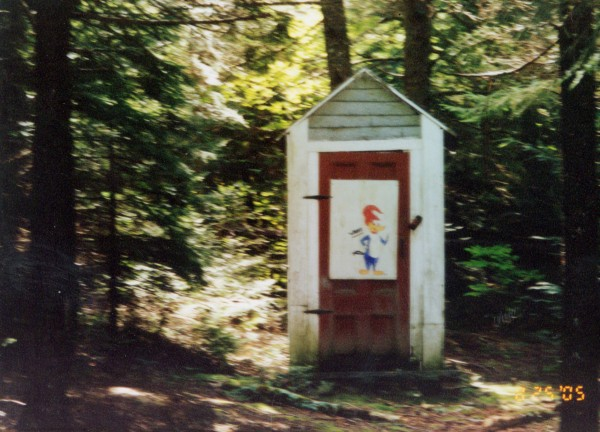 The Gillespies of Boardman Street in Calais sent in this picture of their outhouse in T1 R1 on the St. Croix River. Woody Woodpecker on the door elicits a laugh from first-time guests.