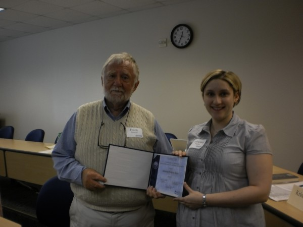 Dr. Frank Burtnett of Rockport awards a Certificate in Nonprofit Management to Adrienne Pelletier-Olson of Bangor at the recent Marketing the Nonprofit class at the Hutchinson Center in Belfast. Pelletier-Olson started the Certificate program with a grantwriting workshop in August 2010 and completed the program this month.