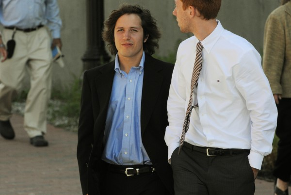 Chester Ruth (left), former boyfriend of Jordyn Bakley, leaves the Penobscot Judicial Center in Bangor on Wednesday, July 27, 2011, along with friends and family after finishing his testimony in the hit-and-run trial of Garrett Cheney of South Berwick.