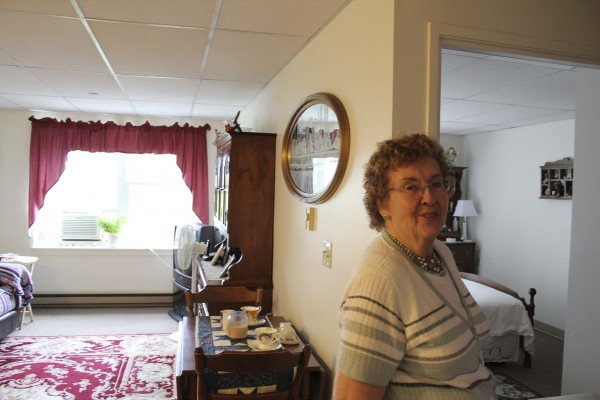 Emma Thibodeau, 82, of Rumford, likes her newly renovated apartment in the Knox Hotel. She said the upgrades made her feel safer.