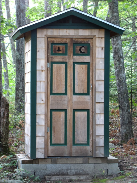 Will Dupuis of Boothbay Harbor sent pictures of this cute little latrine that  is nestled in a beautiful stand of trees next to the club house owned by the Boothbay Region Fish and Game Association. In the spring, there are lady slippers poking out from under leaves all overlooking a quiet trout pond. (I am actually not a member of the club, but the public has access to the pond as the state stocks it regularly. Just thought you should have a pic)