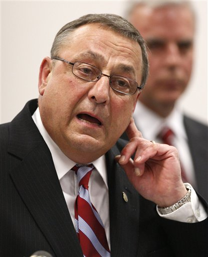 Maine Gov. Paul LePage speaks a state police ceremony Thursday, June 9, 2011, in Augusta, Maine.