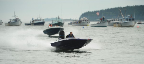 Racers skip across the waters of Moosabec Reach in Jonesport on Saturday, July 2, 2011 as they pilot their boats in the speed boat class  towards the finish line during the annual lobster boat races.