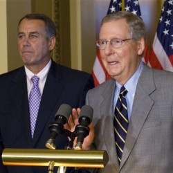 House Speaker John Boehner, R-Ohio, and Senate Minority Leader Mitch McConnell, R-Ky., speak at a news conference on Capitol Hill in Washington, Saturday.