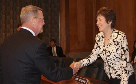 Sen. Susan Collins, R-Maine, greets Robert McAleer, director of the Maine Emergency Management Agency, to a Senate Homeland Security and Governmental Affairs Committee hearing, &quotTen Years After 9/11: Improving Emergency Communications,&quot on Wednesday, July 27, 2011. Collins heard testimony from McAleer on the progress made since the Sept. 11 attacks on emergency communications and the gaps that still remain to improving communications among first responders.