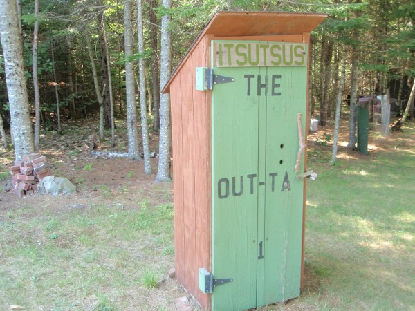 Our outhouse is unique and as the wording screams at the top of the door.