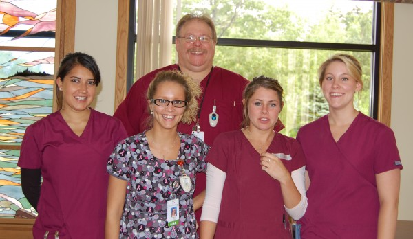 Dan Thorburn (From left), Jacki Choudhari, Meagen Luce, Kayla Pendleton and Courtney Ausplund work as certified nursing assistants in the Medical-Surgical Units at Pen Bay Medical Center.