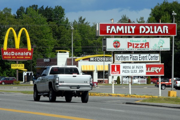 Millinocket's Northern Plaza Shopping Center off Route 157, as seen