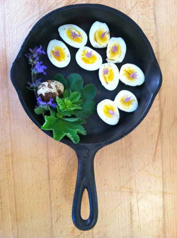 ... poached quail eggs ...