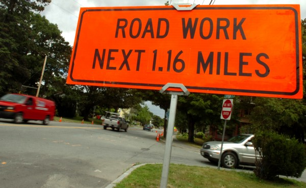A sign located at the corner of Hammond and Norway Streets in Bangor alerts motorists of a stretch of road construction along Hammond Street into the downtown area. Photo taken on Wednesday, July 27, 2011.