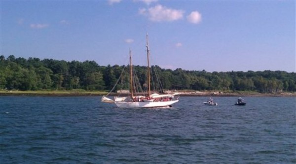 the 88-foot schooner Wendameen ran aground, Saturday, July 30, north of Great Diamond Island, in Casco Bay near Portland, Maine. This is the second time in two months the Wendameen has run aground.