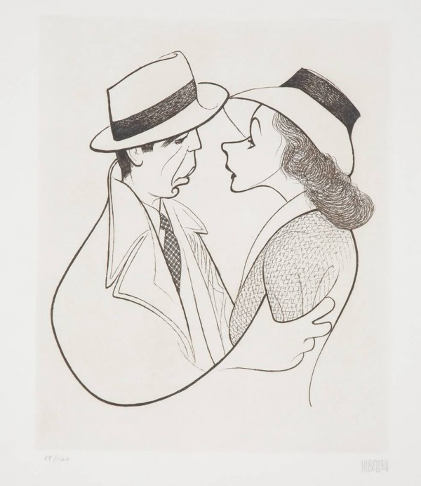 """Casablanca,"" an etching of Ingrid Bergman and Humphrey Bogart by noted caricaturist Al Hirschfeld, brought $4,375 recently at Doyle New York."