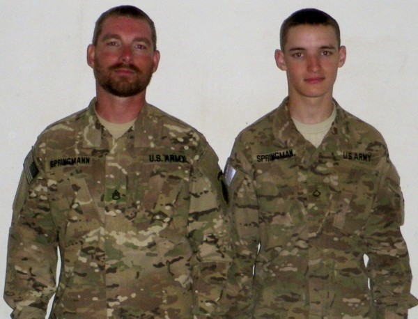 Army Staff Sgt. Robert Springmann (left) and his son Pfc. Tyler Springmann were photographed when they met up last April in Kandahar, Afghanistan. Tyler Springmann was killed recently by a hidden explosive while on foot patrol in Afghanistan.