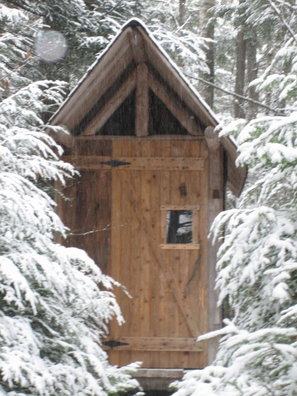 "Richard Sabean of Lakeville said ""It's out standing in the woods. This was home-built with a chainsaw. It's been in consistent use, summer and winter, for over a decade, and is still a comfort to all who visit."""