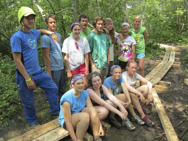 Tanglewood Leadership II campers install bog bridging as their community service project on the town of St. George Conservation Commission footpath leading from the spring to Fort Point. They are (front row, from left) Alice Miller, Solon; Isla Brazier, Bath; Emilie Seavey, Orono; Dakota Condon, Oakland; (back row) Jason Savoie Smith, trip leader, Ayer Mass.; Calum Hamilton, Orono; Karly Robinson, Thomaston; Rich Bouchard, Tanglewood facilities coordinator; Ethan McDonough, York; Ezra Hickey, Jefferson; Isabelle Fall, Harpswell; Molly Cyr, trip leader, Farmingdale. The campers are participants in a three-week leadership camp sponsored by the University of Maine Cooperative Extension's Tanglewood 4-H Camp and Learning Center, which includes an eight-day hike and canoe trip along the length of the St George River watershed. Campers began their trek by foot on Frye Mountain in Montville on July 5 and reached their destination by canoe in Port Clyde on July 13. As part of the leadership training, campers learn skills in communication, outdoor living, ecology, group building, teamwork and get to be counselors for a day with younger campers at the Tanglewood summer camp in Lincolnville. For more information about Tanglewood and Blueberry Cove camps, call 789-5868.