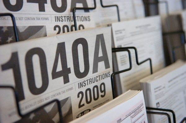 Tax forms and instructions for 2009 returns are seen at the Bangor Public Library in February 2010.