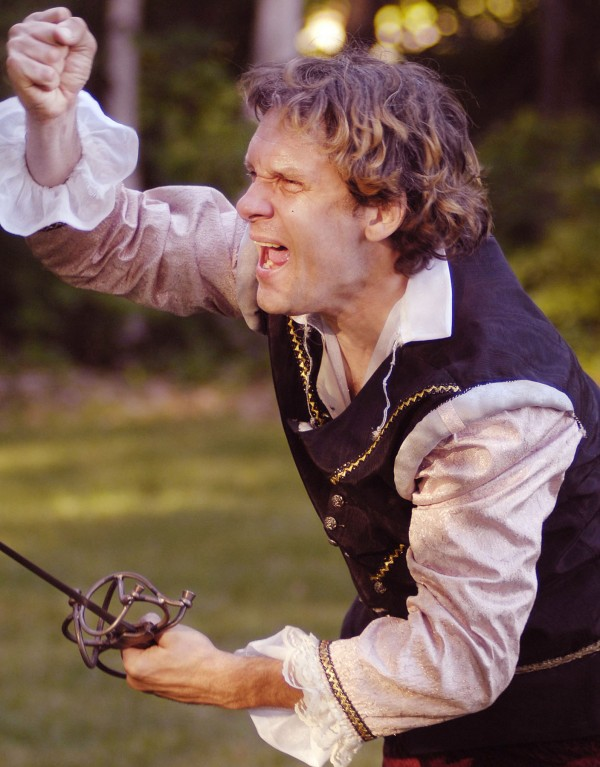 Hamlet, Prince of Denmark, played by Greg Mihalik, vows revenge for his father's death in a Ten Bucks Theater rehersal at Indian Trail Park in Brewer, Thursday, July 14, 2011.