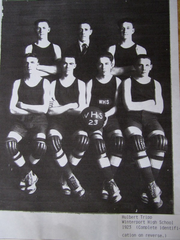 Winterport's basketball team, 1923. Hulbert Tripp is in the front row, far right.