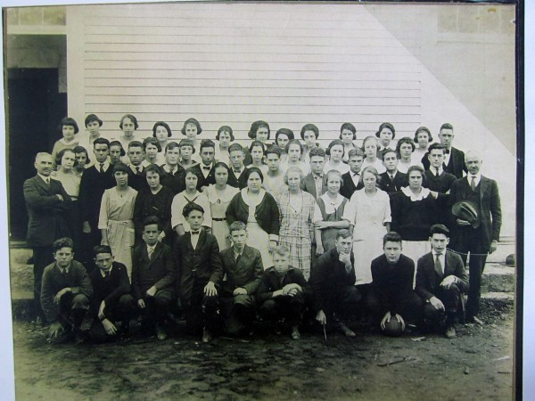 Winterport High School entire student body, 1922 — Hulbert Tripp is in the front row, second from the left.