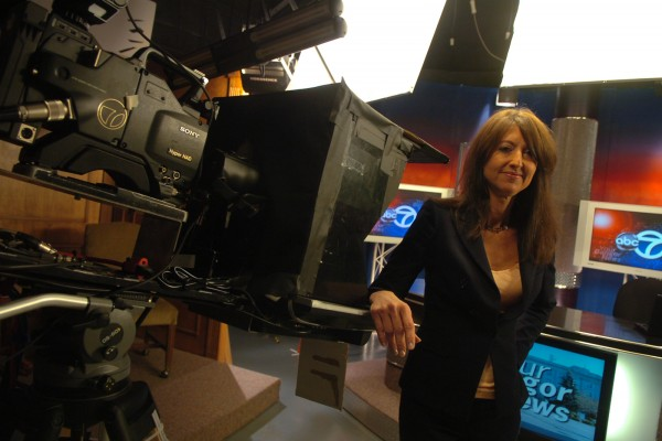Cindy Michaels, then-news director of WVII-TV, stands in the ABC/Fox television station in Bangor in July 2011.