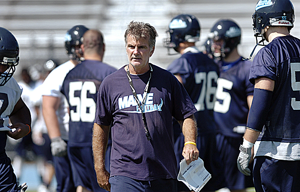 University of Maine Black Bears head coach Jack Cosgrove keeps an eye on a team that will return nine starters on offense and six on defense.