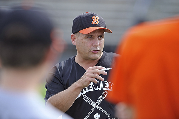 Brewer head coach Roger White talks to his team before their practice Tuesday at Mansfield Stadium. The Maine District 3 champions from Brewer will be playing in the Senior League World Series, which starts Sunday.