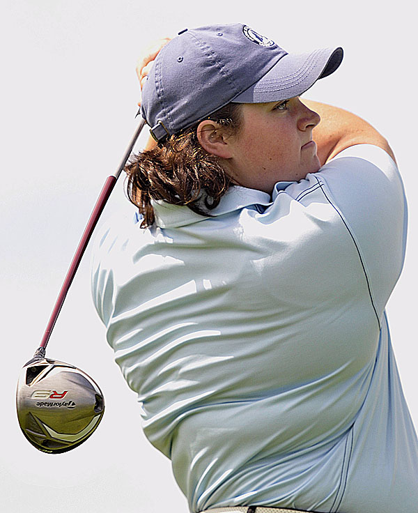 Tourney leader Emily Bouchard fires a tee shot on the 7th hole at Penobscot Valley Golf Course in  Orono Tuesday August 9, 2011 during the WMSGA Championship.