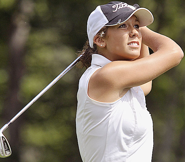 Karli Soracco follows her tee shot on the third hole of Penobscot Valley Golf Course in Orono during day two of the WMSGA Championship Tuesday August 9, 2011.