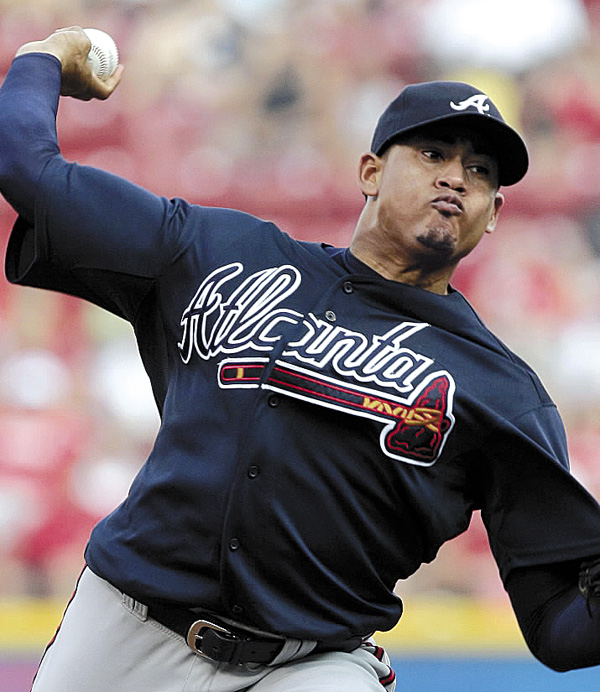 Atlanta Braves starting pitcher Jari Jurrjens delivers a pitch against the Cincinnati Reds during a game in July. Jurrjens is one of six players who played at the SLWS in Bangor who have gone on to play in the major leagues. Thirty players have signed professional baseball contracts.