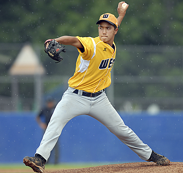 U.S. West starting pitcher Kodi Medeiros delivers during Friday's semifinal against Europe-Middle East-Africa at Mansfield Stadium in Bangor. The Hilo, Hawaii, contingent advanced to the title game with a 10-0 win over Friuli Venezia Giulia, Italy.