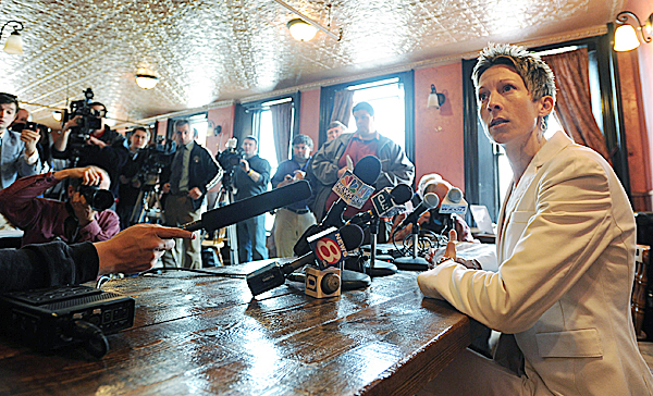 Former UMaine women's basketball coach Cindy Blodgett takes questions from the media during a press conference in Bangor last March after she was fired as the University of Maine's women's basketball coach. Blodgett, now an assistant at the University of Rhode Island, will coach against her former team on Nov. 13 in Kingston, R.I.
