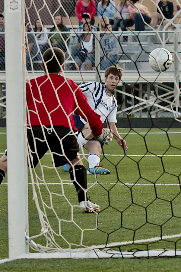 Isaac LaJoie of Presque Isle scores his team's first goal of the season as he converts a breakaway past goalkeeper Cody Plourde of Fort Kent Tuesday night at the Johnson Athletic Complex in Presque Isle. Presque Isle shut out Fort Kent 5-0.