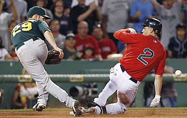 Boston Red Sox's Jacoby Ellsbury, right, beats the throw as Oakland Athletics third baseman Scott Sizemore fields the ball on a triple in the fifth inning of a baseball game at Fenway Park in Boston, Friday night, Aug. 26, 2011.