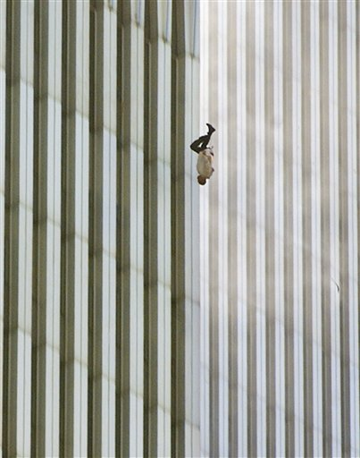 A person falls headfirst from the north tower of New York's World Trade Center on Sept. 11, 2001.