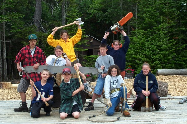 The children from one of Tina Scheer's first Bar Harbor YMCA Youth Lumberjack Camp pose for a photo on June 24, 2004.