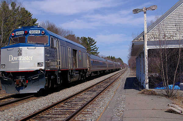The Downeaster rolls through Wells in April 2007. Officials say a Massachusetts bridge the Downeaster crosses needs major repair.