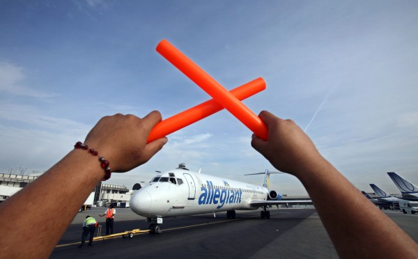 Bangor International Airport and Allegiant Air officials announced announced a new, nonstop route between Bangor and Fort Lauderdale, Fla. at a press conference Thursday, Aug. 25. An Allegiant Air airplane is seen here in Los Angeles in July 2008.