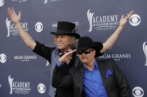 Kenny Alphin (left) and John Rich of 'Big and Rich' arrive at the 46th Annual Academy of Country Music Awards in Las Vegas on Sunday, April 3. The duo will perform with Gretchen Wilson in Caribou on Aug. 20.
