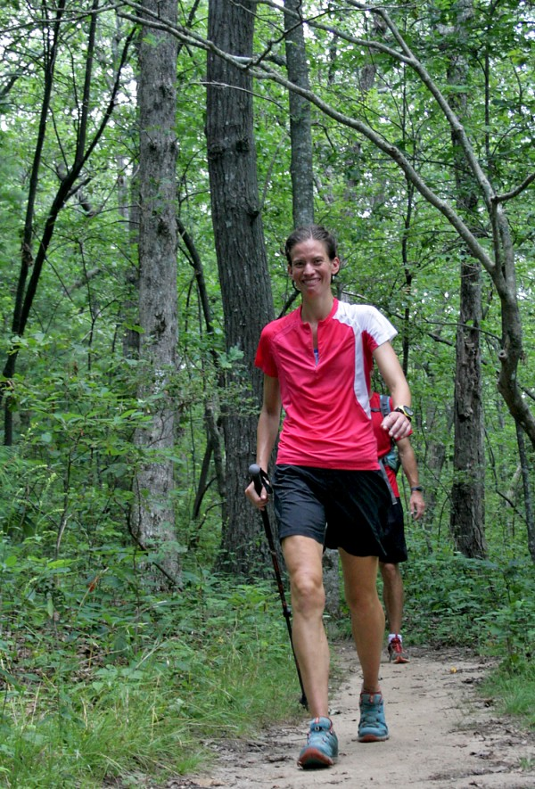 Jennifer Pharr Davis walks on Springer Mountain, Ga. on July 31, 2011. Davis set the unofficial record for the fastest hike of the entire 2,180-mile Appalachian Trail trek from Maine to Georgia.