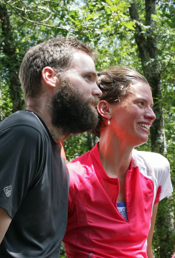 Jennifer Pharr Davis poses with her husband Brew, on Springer Mountain, Ga. on July 31, 2011. Davis set the unofficial record for the fastest hike of the entire 2,180-mile Appalachian Trail trek from Maine to Georgia.