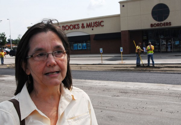 Sharon Thibault of Litchfield stands outside the Borders in South Portland, one of 14 Book-A-Million has made a bid for.