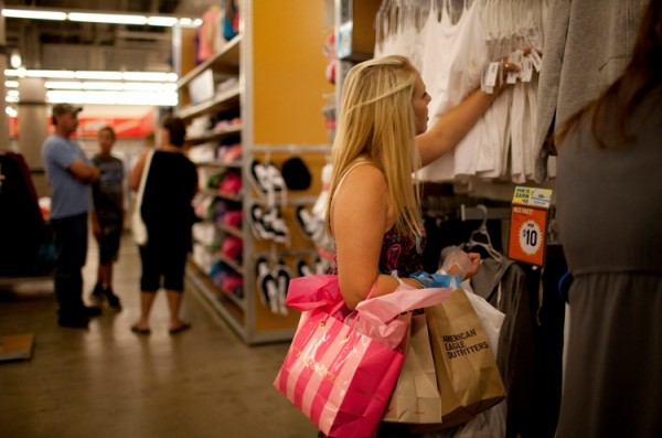 Gabrielle Clar, 18, shops for back-to-school clotes at an Old Navy at the Mall of America in Bloomington, Wisconsin, on August 9, 2011. Like many shoppers during the economic state, she was looking for bargains and bought only items on sale.